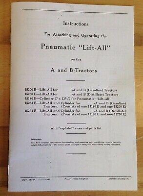 Pneumatic Lift-all Ih Farmall A B Tractor Exhaust Lift Operators Parts Manual
