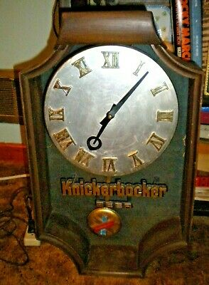 "Knickerbocker Beer Clock with Pendulum 20"" x 12"" x 5 1/2"" Vintage"