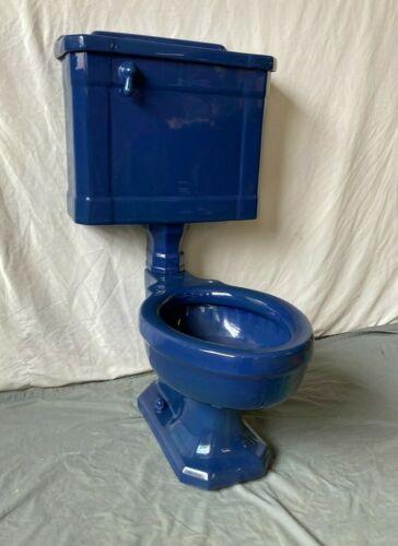 Antique Cobalt Blue Complete Toilet Standard Master Maderna Old Vtg Bath 76-21E