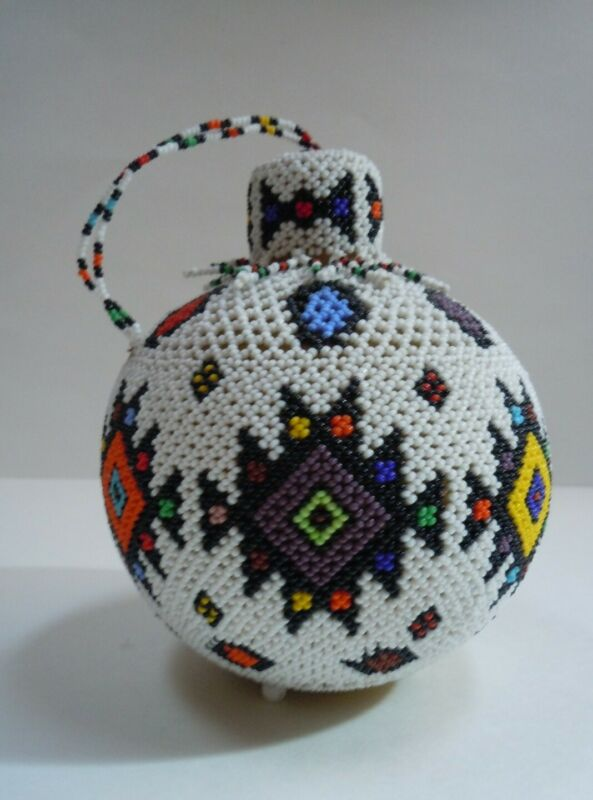 Native American Tribal Hand Made Beaded Gourd with Lid Perfect Condition