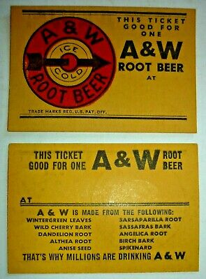 "2 Vtg 1948-57 A&W Root Beer Coupons ""Ticket Good for One"" & List Of Ingredients"