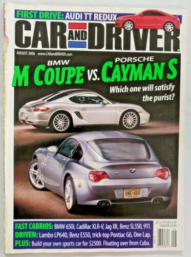 Car and Driver Magazine August 2006 BMW M Coupe vs Porsche Cayman S-M259