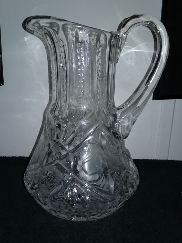 ETCHED FLORAL GLASS PITCHER