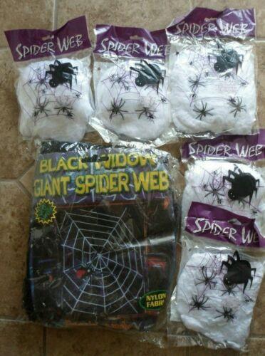 Giant Black Widow Spider Web Kit  Indoor/Outdoor Halloween Decor Party New