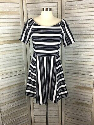 Forever 21 Black & White Striped A Line Dress Sz M Vertical & Horizontal (Black And White Horizontal And Vertical Stripes)