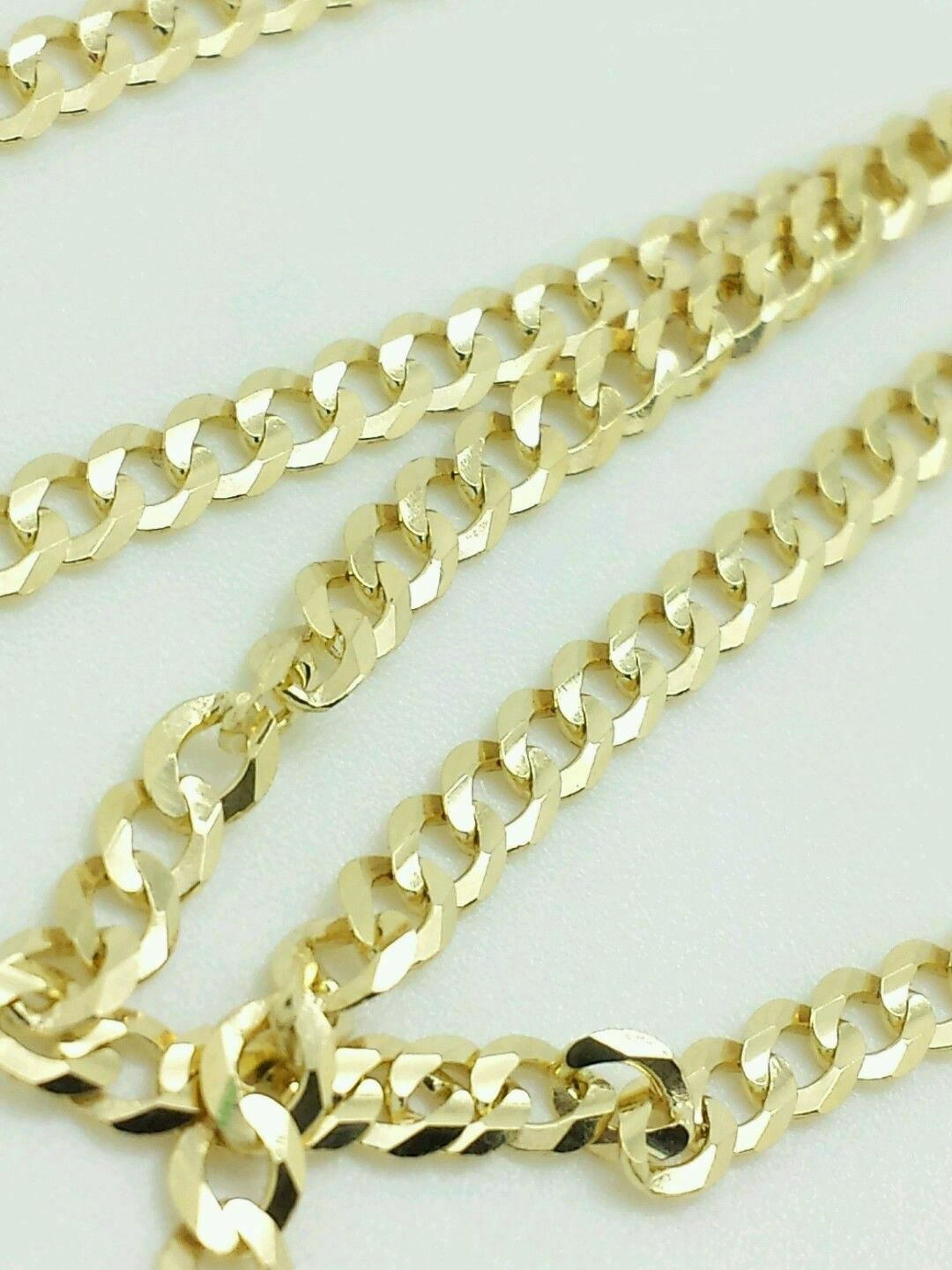 """14K Solid Yellow Gold Cuban Link Chain Necklace 30""""  Men's Women"""