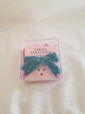 Tarina Tarantino Velvet Teal Blue Swarovski Crystal Hair Bow Clip 3 Inches