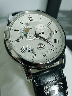 NEW Orient Automatic Men's Watch 42.5mm Sun & Moon White Dial, WR 5ATM, Sapphire