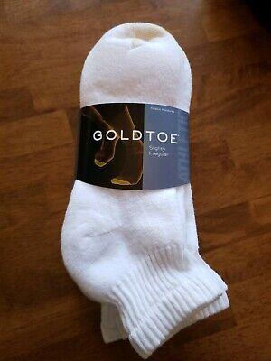 Gold Toe® Men's White Cushion Cotton Quarter Socks, 6 Pair, sock size 10/13