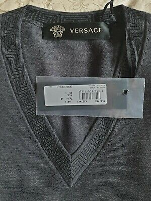 Versace V-neck Jumper Medium - Made In Italy