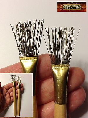 M00424a MOREZMORE 2 Metal Texture Wire Brush Clay Pottery Tool Hair Feather A60