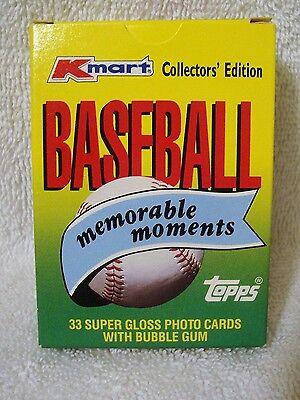 1988 Kmart Topps 33 Card Glossy Set Memorable Moments in Baseball MLB