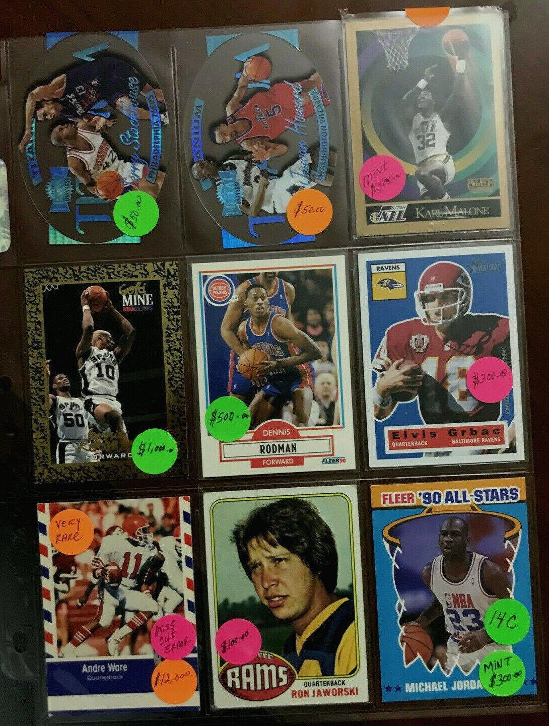 Sports Trading Cards Football Basket Ball Ware Error Rodman 9,000 Lot 14c - $25.00