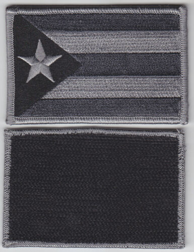 Puerto Rico PR Territorial Flag Patch Hook Fastener GREY & BLACK SUBDUED police