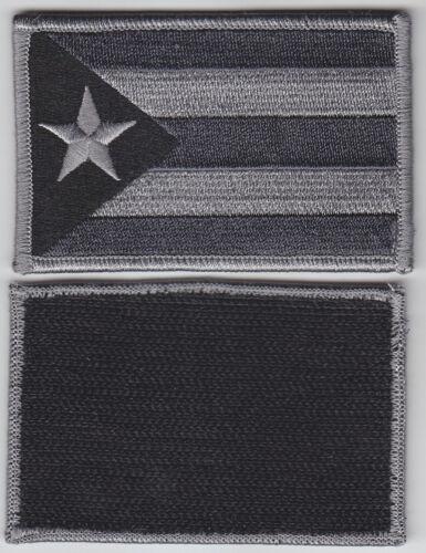 Puerto Rico PR Territorial Flag Patch Hook Fastener GREY & BLACK SUBDUED police