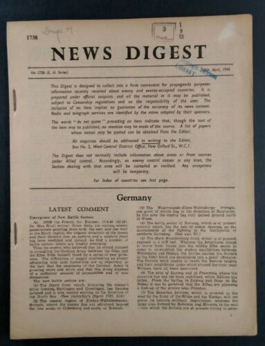 1945 News Digest UK British Propaganda Report Rare VHTF London