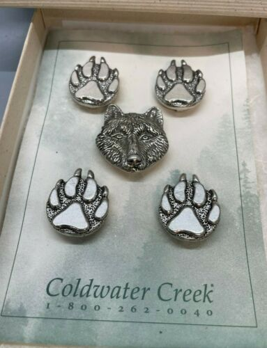 Wolf Bear Head Paws Silver Metal Button Cover Set of 5 Coldwater Creek NOS