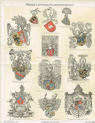 Farbtafel WAPPEN / HERALDIK 1890 Original-Lithographie