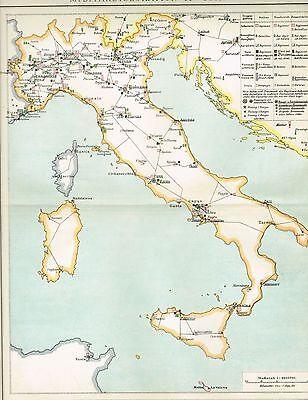 MILITÄRKARTE von ITALIEN / GARNISONEN / FESTUNGEN Original-Graphik 1894