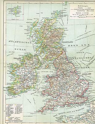 Karte GROSSBRITANNIEN und IRLAND 1894 Original-Graphik