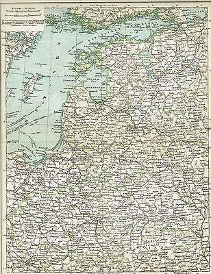Karte BALTIKUM / WEST-RUSSLAND 1895 Original-Graphik