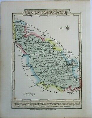 Antique map of Northamptonshire by William Lewis 1819