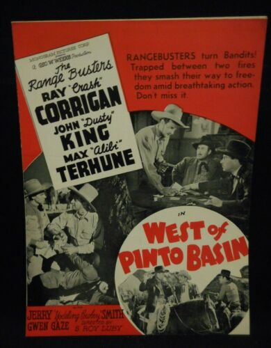THE RANGE BUSTERS West of Pinto Basin 1940 Pressbook VF Ray Corrigan Dusty King