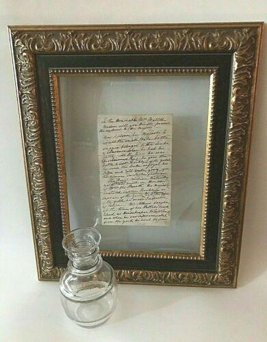 King William IV England Antique Glass Water Bottle w/Document Framed