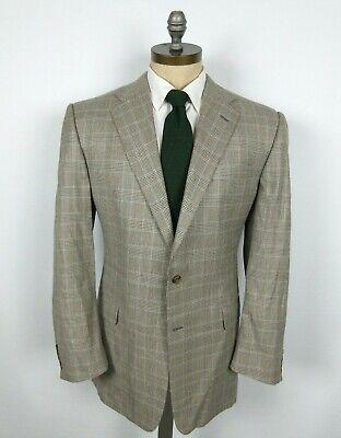 HICKEY FREEMAN Jacket Coat Sz 44L Wool Silk Blend Beige Brown Blue Plaid Check