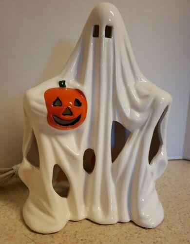 Vintage Ghost with Jack O Lantern Ceramic Light Up Lamp Halloween PR Taiwan