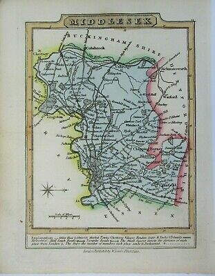 Antique map of Middlesex by William Lewis 1819