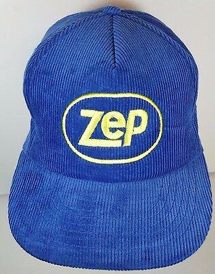 Vtg 1980s ZEP Cleaning Solutions LOGO Advertising CORDUROY SNAPBACK HAT Blue CAP
