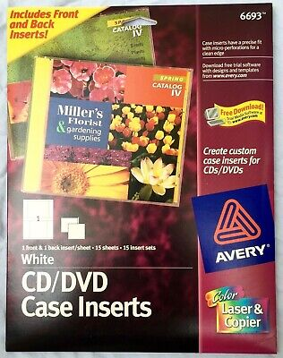 AVERY 6693 MATTE WHITE JEWEL CASE INSERTS CD DVD 15 COUNT