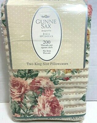Gunne Sax Jessica McClintock, Two King Pillowcases RIBBON ROSES With Lace NWT