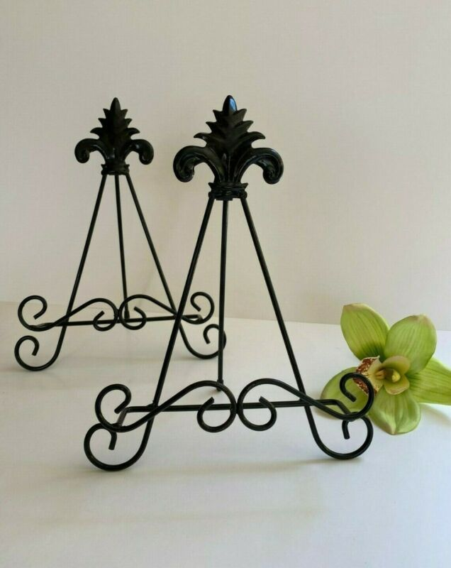 SET Two Black Decorative Display Easels Plate Photo Book Stands Good Condition
