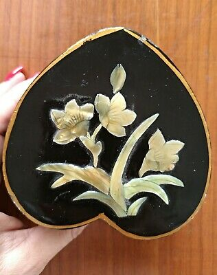 Antique Box Box Eastern With Inlay Nacre Heart-Shaped
