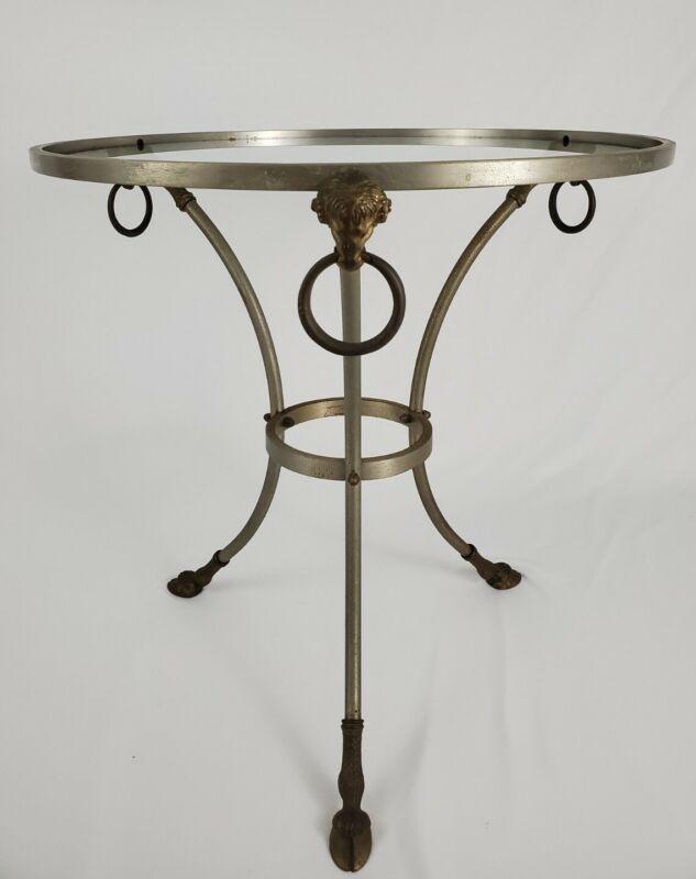Vintage Maison Jansen Brass Nickel Glass Top Rams Head Hoof Foot Side End Table