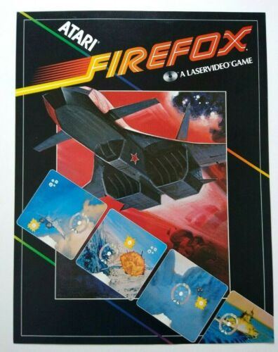 Atari Firefox Arcade FLYER Original 1983 Retro Video Laser Game Paper Artwork