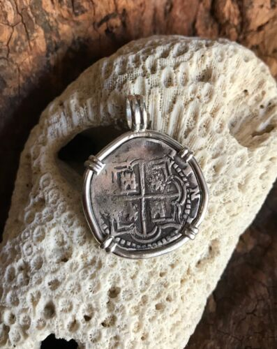 Pirate Coin Treasure Piece of Eight Spanish Authentic cob 1 Reale set SS pendant