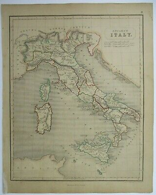 Antique Map of Ancient Italy by William & Robert Chambers 1845