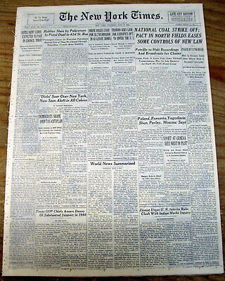 <1947 newspaper 39 STATES REPORT UFO SIGHTINGS Multi-color FLYING SAUCERS in Sky