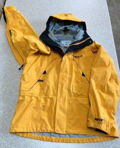 Vintage LL Bean All Conditions Mens Medium Gore-Tex Yellow Hooded Jacket Coat