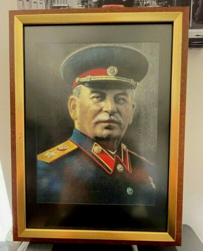 T-Shirt framed with glass cover picture of Joseph Stalin WWII Soviet USSR.