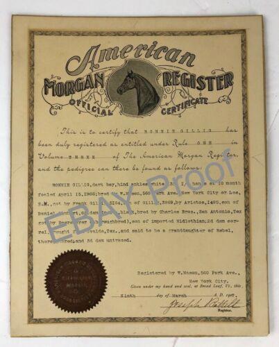 RARE 1907 American Morgan Horse Original certificate signed by Joseph Battell
