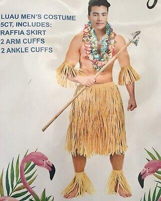 NWT Luau Hula grass Raffia Skirt Halloween Costume Hawaiian 5 piece mens womens