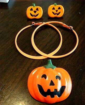 BOO! Happy Halloween! Vintage and Now Pumpkin Pierced Earrings & Pin Lot