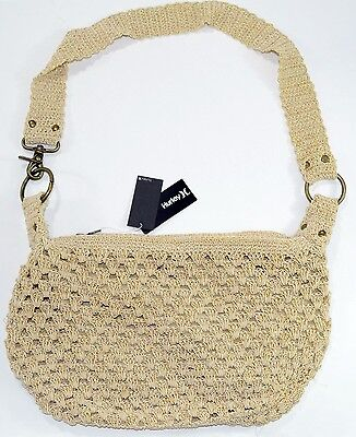 Ring Hobo Handbag Purse Bag - Hurley PEARL Ivory Beige Gold Zip Metal Rings Woman's Hobo Bag Purse