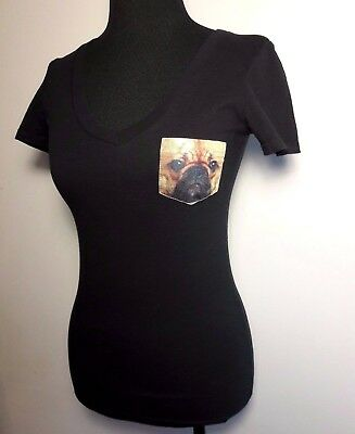 Women's T-shirt by Ace Apparel Size Small Dog Pocket Tee Black Short Sleeve