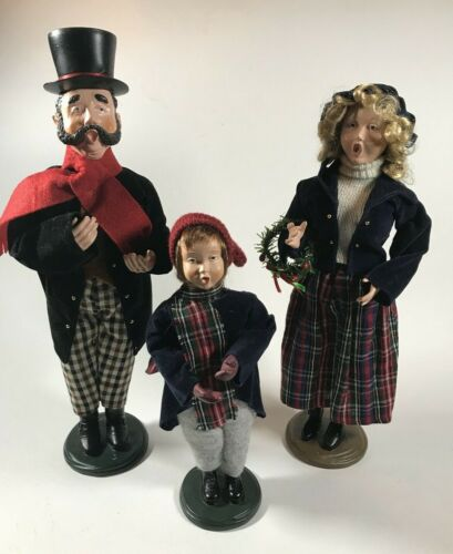 Vintage  Christmas Carolers Figurines Victorian Family Singers Lot of 3