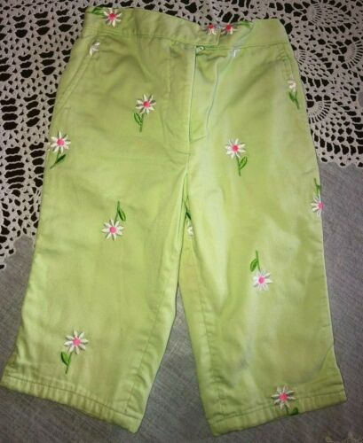 Lilly Pulitzer Girls Size 3T Light Green Embroidered Floral Pants
